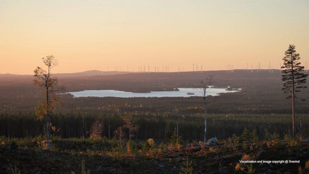Markbygden wind farm visualization. Image © 2019 Svevind AB