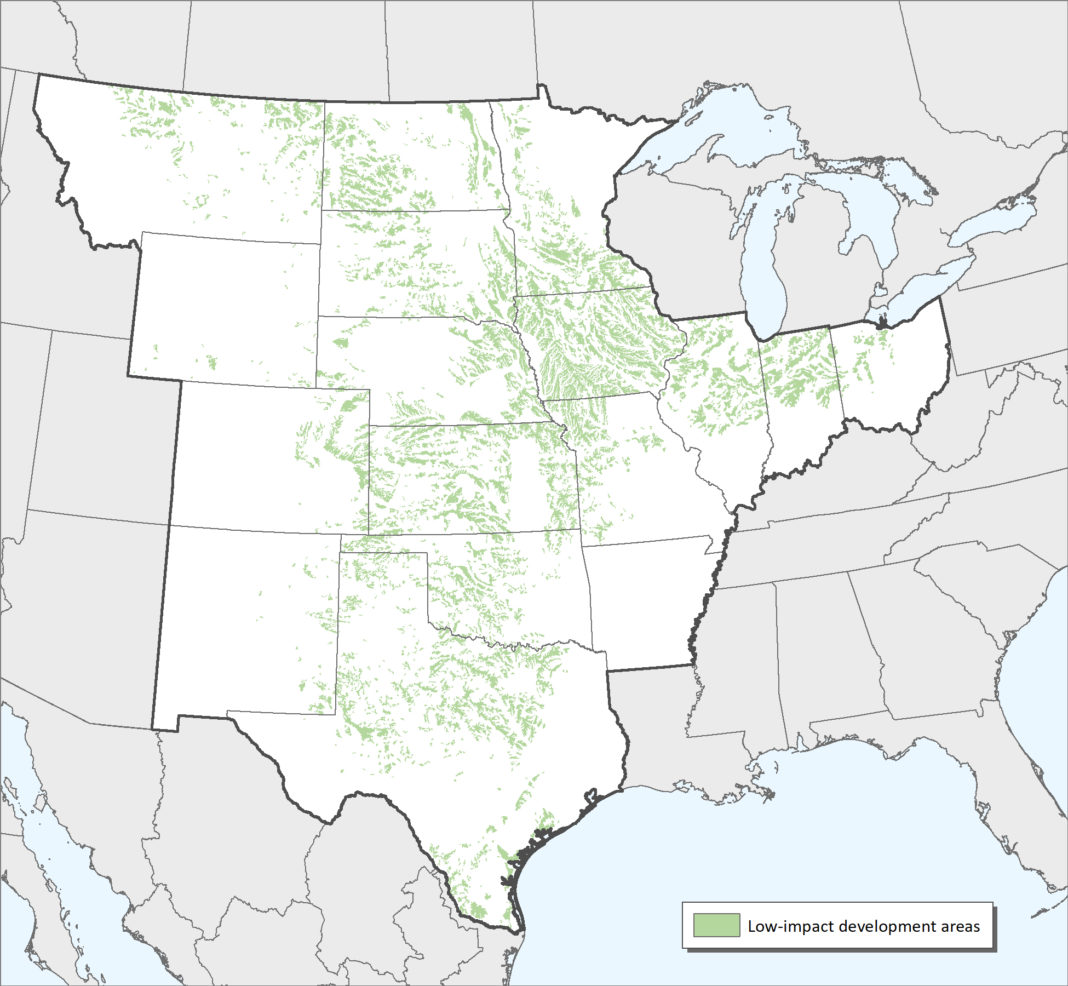 A map of central U.S. low-impact layer in Site Wind Right mapping analysis.