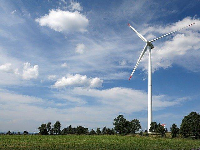 Wind Turbine with Sky and Trees