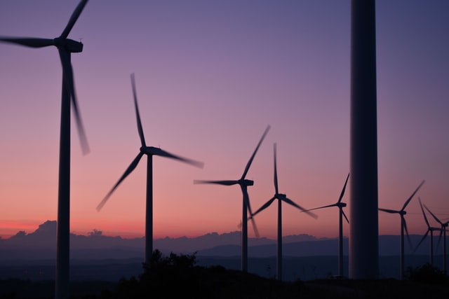 Wind Turbine and Purple Sunset